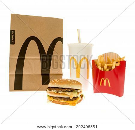 Winneconne WI - 14 August 2017: A McDonald's Bic Mac meal on an isolated background