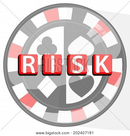 risk poker concept button. poker chip and inscription. illustration for your design