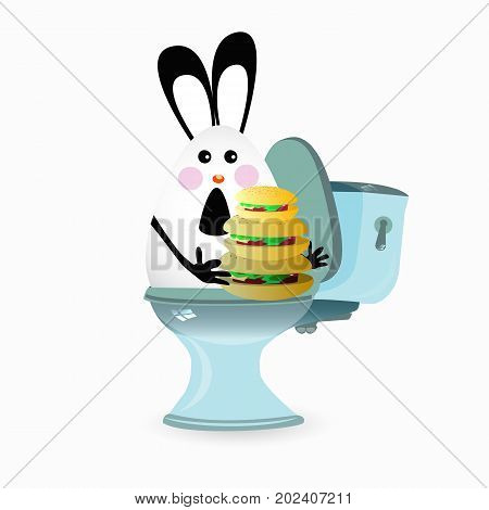 haemorrhoids and constipation concept. Inadequate nutrition. Funny illustration for your design. rabbit with a hamburger on the toilet