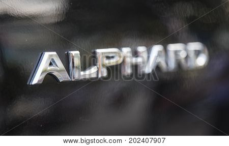 Hanoi, Vietnam - Sep 1, 2017: Close up of the logo of Toyota Alphard executive lounge taken within a test drive. Toyota Motor is a Japanese automotive manufacturer headquartered in Aichi, Japan.