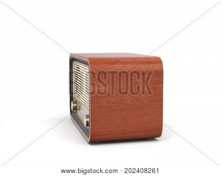 3d rendering of a brown rounded retro style radio receiver with an analogue tuner. Means of communication. Reaching audience. Radio shows.