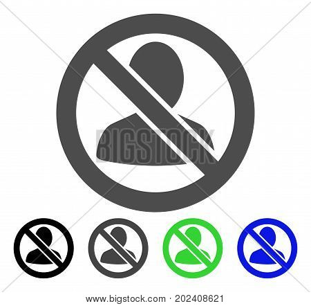 Restricted User vector icon. Style is a flat graphic symbol in black, grey, blue, green color versions. Designed for web and mobile apps.