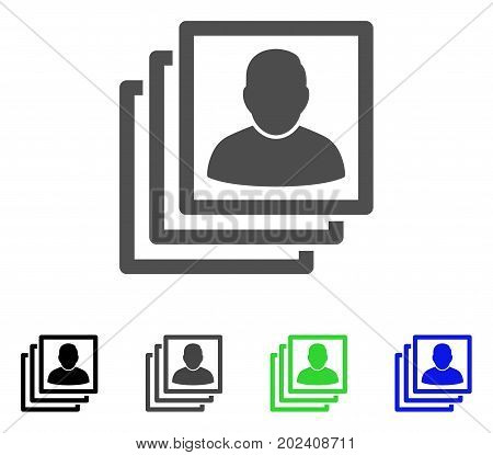 User Accounts vector pictogram. Style is a flat graphic symbol in black, grey, blue, green color versions. Designed for web and mobile apps.