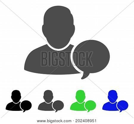 User Hint Balloon vector pictograph. Style is a flat graphic symbol in black, gray, blue, green color versions. Designed for web and mobile apps.