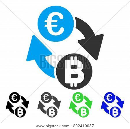 Euro Bitcoin Exchange Coins vector icon. Style is a flat graphic symbol in black, gray, blue, green color versions. Designed for web and mobile apps.