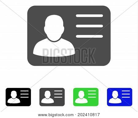 Account Card vector pictograph. Style is a flat graphic symbol in black, gray, blue, green color variants. Designed for web and mobile apps.