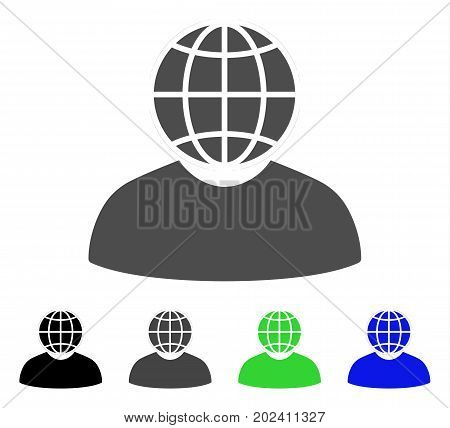 Global Politician vector icon. Style is a flat graphic symbol in black, grey, blue, green color variants. Designed for web and mobile apps.