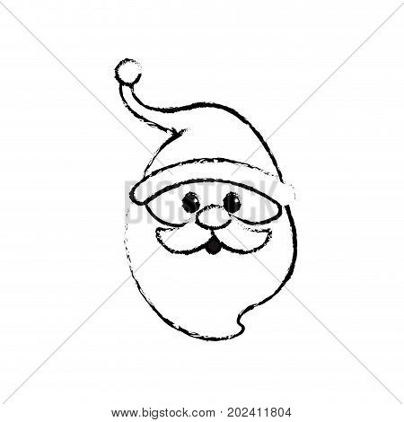 figure santa claus head with beard and hat christmas vector illustration