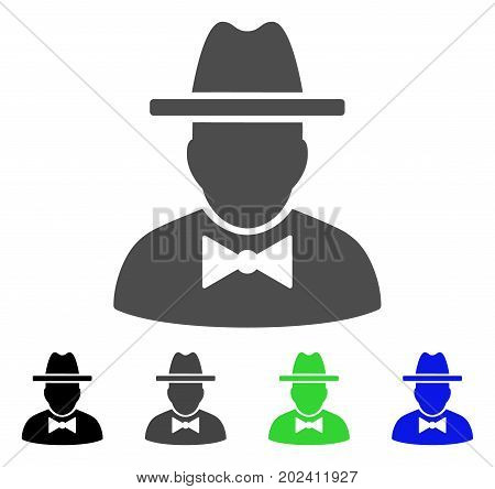 Spy vector pictograph. Style is a flat graphic symbol in black, grey, blue, green color versions. Designed for web and mobile apps.