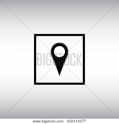 Geolocation flat vector sign. Isolated map location vector icon. Geo location square button.
