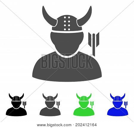 Warrior vector pictogram. Style is a flat graphic symbol in black, gray, blue, green color versions. Designed for web and mobile apps.