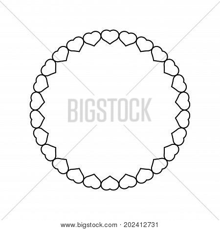 uncolored design with hearts on white  background  vector illustration