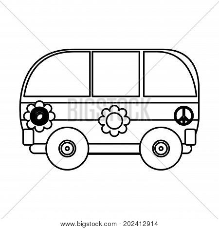 uncolored  hippie bus over white  background vector  illustration