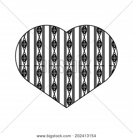 uncolored  heart design  over  white  background  vector illustration