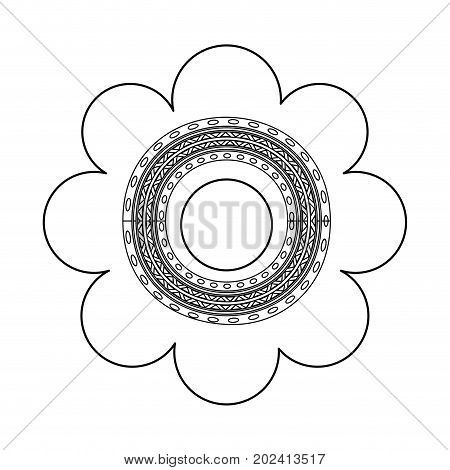 uncolored design flower  over white  vector illustration