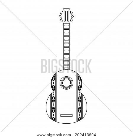 uncolored decorative guiitar  over white  background  vector  illustration