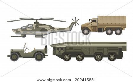Military transport with armored corpus isolated vector illustrations on white background. Helicopter of camouflage color, heavy truck, car without roof and huge vehicle for missile transportations.