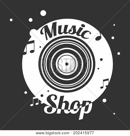 Music shop black and white emblem with old vinyl record and notes around vector illustration. Store with musical compositions from all epochs on all kinds of information carriers promotional logotype.