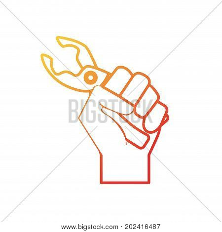 line pincers equipment service industry repair in the hand vector illustration