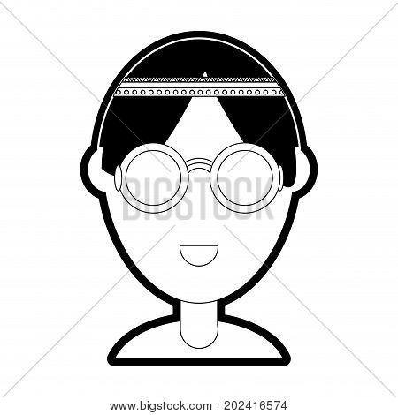 cartoon hippie woman icon over white background vector illustration