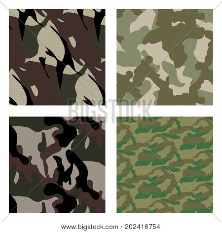 set Fashionable camouflage pattern. Set of 4 fashion camouflage patterns. Vector illustration. Can be used for textile or print design. Forest, Desert, Jungle camo texture.