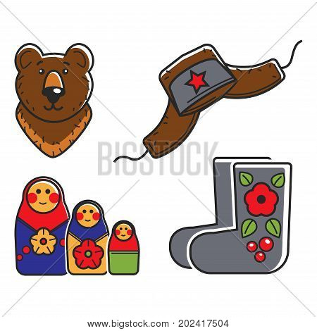 Russian traditional national symbols isolated cartoon vector illustrations set on white background. Brown bear, hat with ear flaps and red star, wooden nesting doll and felt boots with flower pattern.