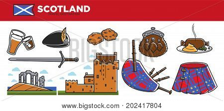 Scotland travel destination vector illustration. Alcohol drinks, authentic cuisine, ancient buildings, pleated kilt, traditional bagpipes, hot meal, old sword, beret with feather and furry purse.