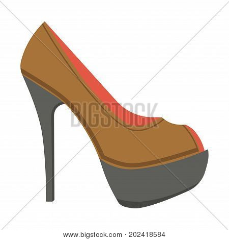 Leather stiletto shoe with open front isolated cartoon flat vector illustration on white background. Elegant female footwear on high heel and black sole for stylish feminine outfits in warm weather.