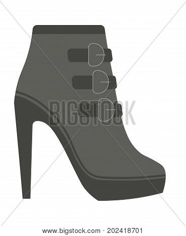 Autumn female leather half-boot with straps on high heel and small platform isolated cartoon flat vector illustration on white background. Warm stylish footwear of high quality for reckless looks.