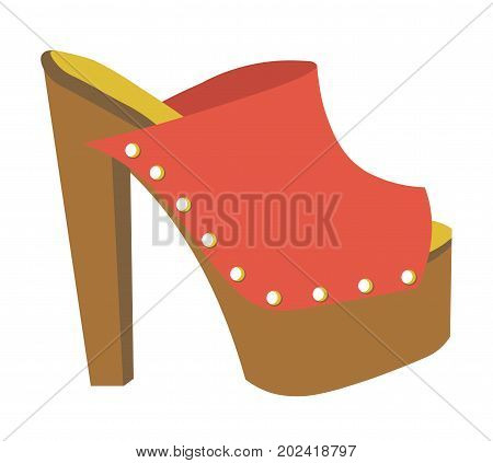 Stylish mule of red leather with small metal rivets, heavy platform and high heel isolated cartoon flat vector illustration on white background. Fashionable feminine footwear for creative outfits.