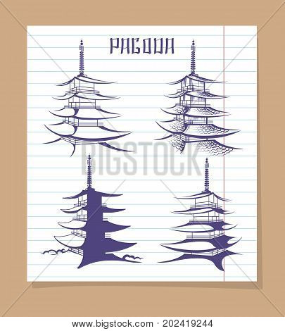 Set of asian pagoda on notebook page background. Vector illustration