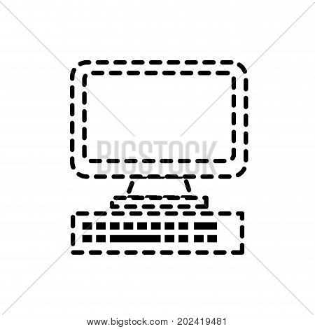 dotted shape computer electronic technology with database information vecto illustration