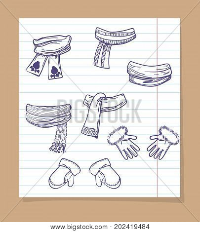 Sketch of winter accessorises on line page. Vector hand drawn mittens and scarves