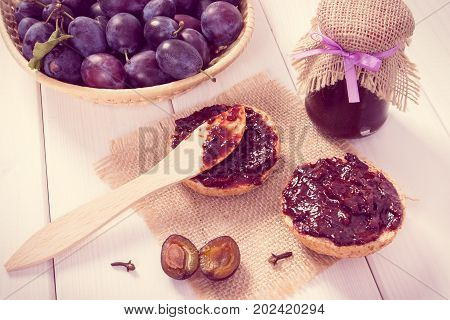 Knife And Fresh Sandwiches With Plum Jam On Jute Burlap, Preparation Breakfast Concept