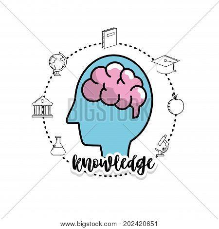 set school utensils to education knowledge vector illustration
