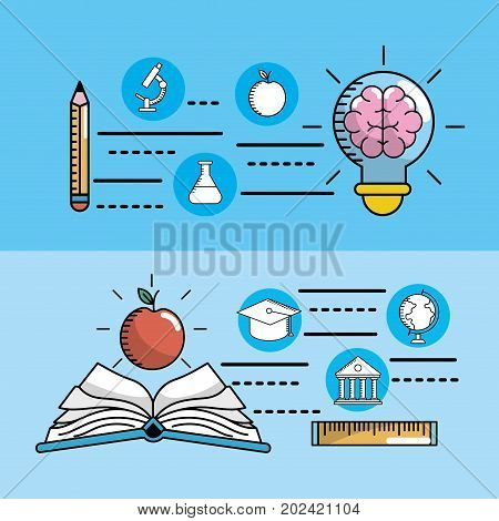 set school utensils to education knowledge vector illustration
