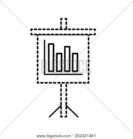 dotted shape presentation business document with statistics bars graphy vector illustration