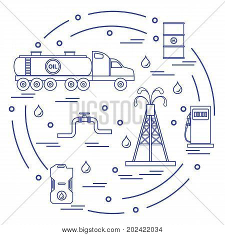 Cute Vector Illustration Of  Oil Tanker, Equipment For Oil Production, Canister Of Gasoline, Barrels