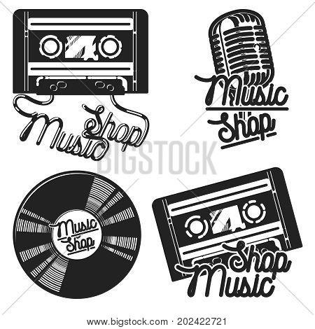 Vintage music shop emblems for use music store, record studio, sound technology etc. Vector Illustration