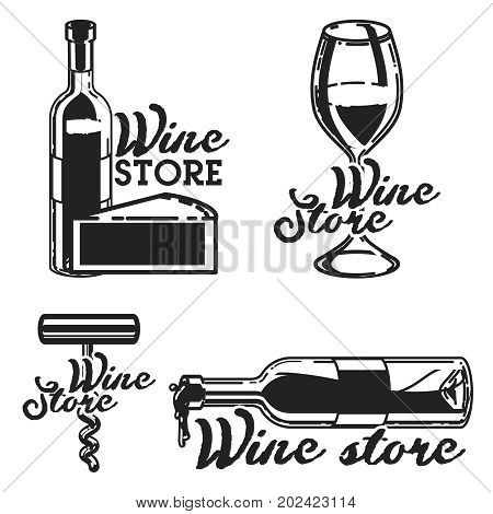 Vintage wine store emblems. Template isolated icon design. Vector illustration, EPS 10