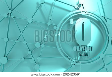 Oxygen chemical element. Sign with atomic number and atomic weight. Chemical element of periodic table. Molecule And Communication Background. Connected lines with dots. 3D rendering.