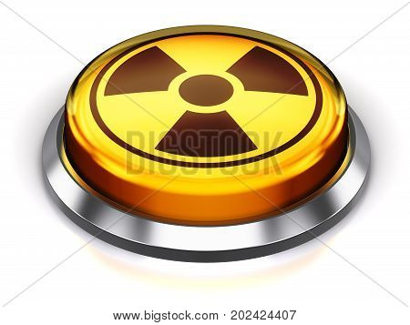 3D render illustration of the yellow round button with poison radioactive nuclear radiation symbol isolated on white background with reflection effect