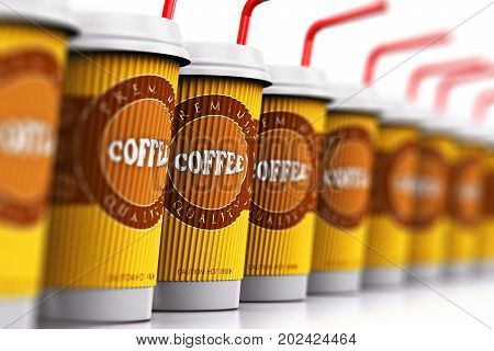 Creative abstract 3D render illustration of the set or group of the plastic or cardboard paper coffee to go or take away drink disposable cups or mugs with red straws arranged in the row and isolated on white background