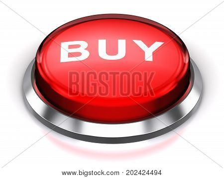 3D render illustration of the red glossy round button or icon with Buy text word isolated on white background with reflection effect