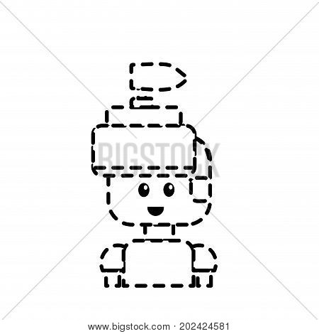 dotted shape warrior character to video game technology play vector illustration