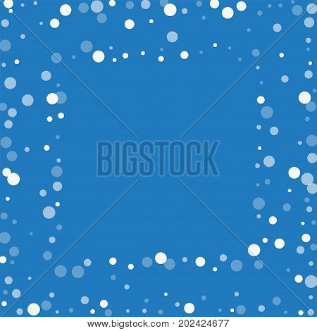 Falling White Dots. Square Scattered Frame With Falling White Dots On Blue Background. Vector Illust