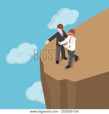 Isometric Boss Introduced Blindfolded Businessman To Walk To The Cliff.