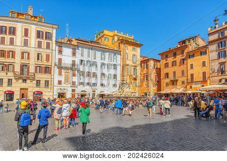 Rome, Italy - May 09, 2017 : Rotund Square (piazza Della Rotonda)  And Pantheon Fountain( Fontana De