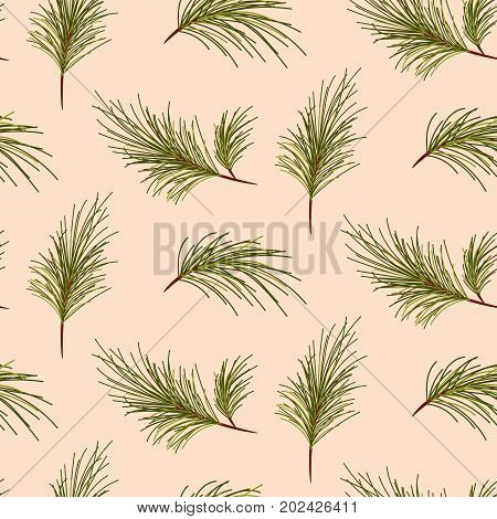 Pine tree branches on pale pink background seamless vector pattern.