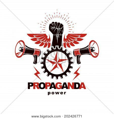 Vector marketing banner created using clenched fists raised up loudspeaker equipment and engineering cog wheel element. Proletarian revolution no limits and restrictions concept.